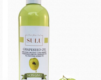 Organic Grape seed oil 100% pure grapeseed oil cold pressed from 4 oz up to 7 lbs