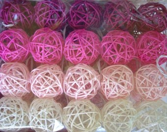 20 Shades of PINK Tone Wooden ball string lights Rattan Balls