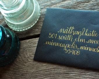 Custom Handwritten Calligraphy Envelope Addressing, Gold Metallic Ink