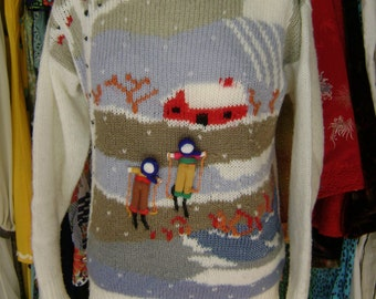 WINTER Sport OLD 80s 90s Sweater Skier X Mas Christmas Winter Pullover
