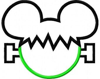 Mouse Frankenstein Applique Design 3 sizes, dst, exp, hus, jef, pes, sew, vip, vp3, Formats Digital INSTANT DOWNLOAD