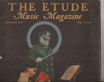 The Etude Music Magazine, September 1932, Vintage Magazine, The Spirit of Sousa, Trombone, Renninger Cover Art, Sheet Music Magazine