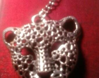 Large silver Cheetah face key chain
