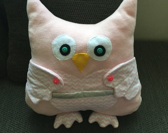 Owl pillow soft pink-pink chevron