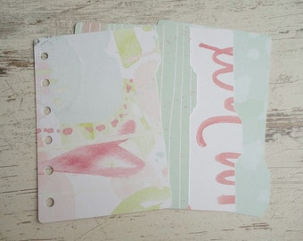 "A7 pocket dividers ""green/pink"""