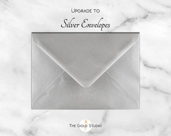 Upgrade to Silver Envelopes. Metallic Silver envelopes for all Gold Studio Invitations Add on