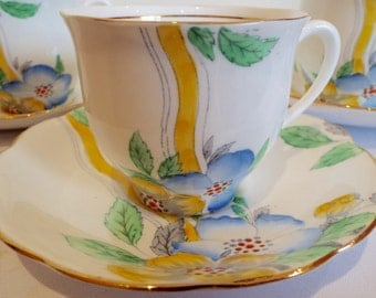 Vintage Tea Cup, 1930s Teacup and Saucer by English Bell China. Hand Painted Blue and Yellow Flowers, Great for an Afternoon Tea Party