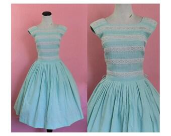 1950s cotton sundress/ 50s sky blue day dress/ small