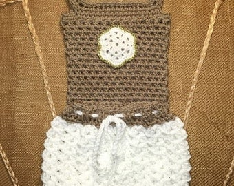 Littlebits Newborn Baby Crocheted Light Brown Singlet with White Bloomers Set - Handcrafted in Australia RTS