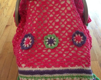Car Seat Canopy Crochet Baby Blanket / Afghan with soft Lined Canopy / 3 Flowers Baby Blanket