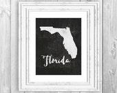 Florida Map Print Florida Print Script Cursive Print Black and White Florida Map Print Map Download Florida State Map Decor Black State Map