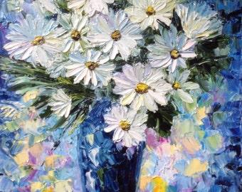 oil painting daisy flower  impasto original oilpainting 11.81*15.75 in (30*40 cm)