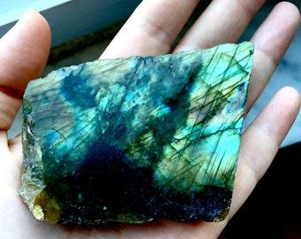 Blue/green labradorite slab