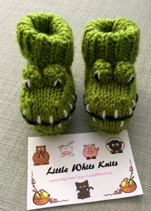 Crocodile knitted baby booties alligator by LittleWhitsKnits