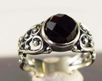 Sterling Silver Black Onyx Filigree Ring