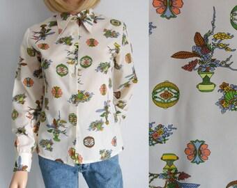 Womens shirt blouse, cream multi patterned top, french 60s vintage retro, daggar collar, long sleeve, medium
