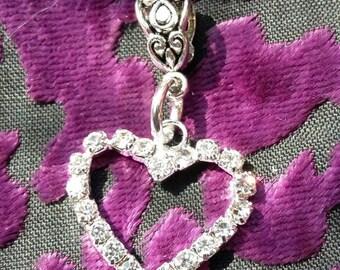 "Handmade rhinestone heart pendant necklace (""antique silver"")"