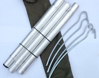 Ex-army set of 3 poles & 4 pegs in canvas pouch - tent bivvy bivi emergency shelter basha camping bushcraft