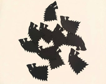 Game of thrones inspired house of stark wolf table confetti cutouts in black 1.5 inches 50 pcs