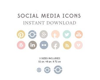 Feminine Social Media Icons - Website and Blog Icons - Blog Buttons - Multi Color Icons - Social Media - INSTANT DOWNLOAD