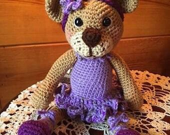 Crocheted ballerina bear snuggle buddy