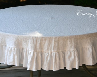 "80"" (203 cm) Round White Linen Tablecloth, Ruffled, Custom Tablecloth, Washable Linen, Organic Flax, Made in USA"