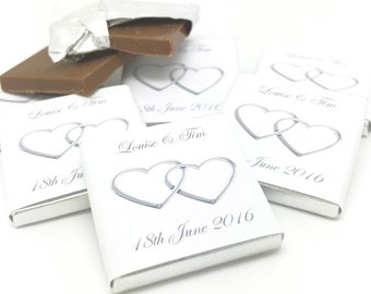 Personalised Chocolate Wedding Favours, Silver Entwined Hearts, Custom Favors, Personalized Favors, Wedding Candy Wedding Gift Bridal Shower