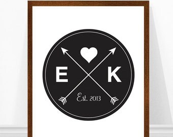 Personalized Wedding Print, Gift for Newlyweds, Wedding Art Print, Initials Print, Arrows Print, Valentine's Day Gift