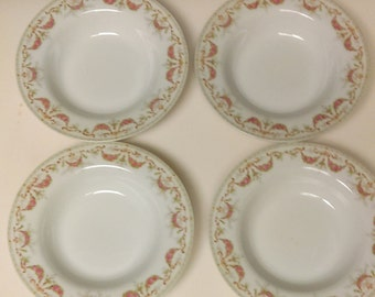 4 Antique W M Guerin & Co Pink Floral Swag Garland Soup Bowls