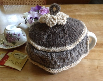 Hand knit wool tea cozy