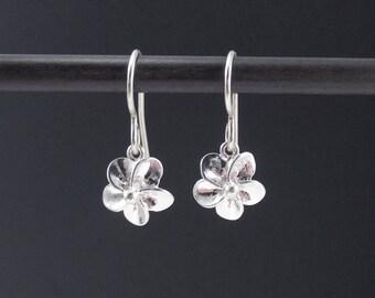 Tiny Flower Earrings Sterling Silver Plumeria Earrings, Dangle Earrings, Small Floral Earrings, Simple Earrings