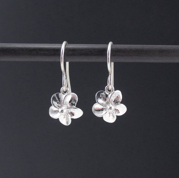Tiny flower earrings sterling silver plumeria earrings dangle for Gemsprouts tiny plant jewelry