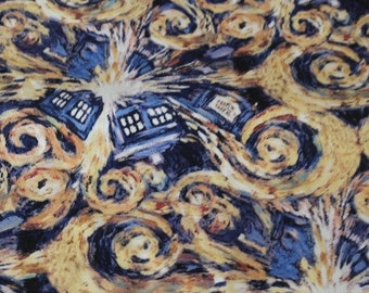 Dr Who Exploding Tardis Van Gogh Starry Night Cotton Fabric- For the Whovian in all of us