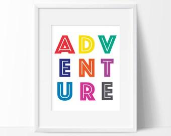 Adventure Kids Art Print - Kids Decor - Nursery Art - Children's Wall Art