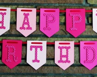Happy Birthday Banner, Pink and White Banner, Happy 1st Birthday Banner