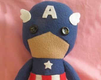 Captain America Marvel Fleece Plush Doll with Hood