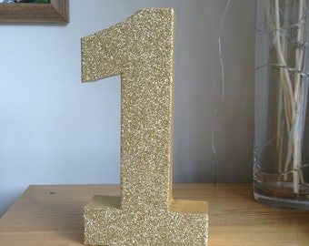 "12"" Gold Glitter Number 1, Large Freestanding Number 1, 1st Birthday Party Decor, Gold Number One"