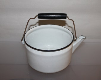 Vintage Enamel Tea Kettle or Pot w No Lid, Wood Handle, White & Black Colors, Heating Water, Boiling Eggs, Country Decor, Very Collectible