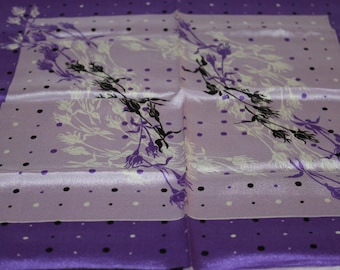 Sally Gee, Silk Hand Rolled Scarf, Purple Shades w Black and Violet Dots w a Flower Design on it, Elegant, Tag on it, Collectible Clothing