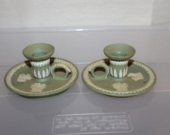 SALE  Pair of  Authentic Wedgwood Jasper Ware, Candle Sticks,, Rare, Very Collectible Vintage, Made in England, Placarding,