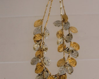 This is a Multi-Strand Necklace That Looks Like Real Gold, Silver Leaves, it is Magnificent, & Made to Wear Out to Dinner or to a Party Fine