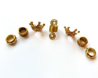 loc Jewelry, Gold Crown, Hair Beads, Metal Dreadlock Beads, Dreadlocks, Jewelry For Locs, Braids Twists Rings, Hair Accessories
