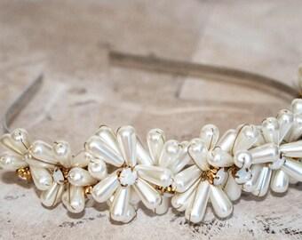 Pearl tiara, pearl headband, bridesmaid headband, bridesmaid headpiece,