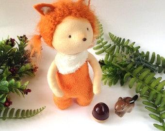 Fox doll toy. Fox cloth doll. Stuffed Fox. Fox ragdoll. Miniature artdoll. Waldorf inspired doll. Woodland animal doll.