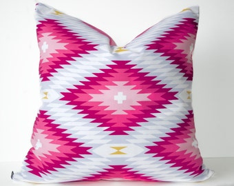 Aztec pillow cover - Bright Pink and White pillow - Fuchsia pillow - Tribal pillow - Southwest pillow - Ethnic pillow