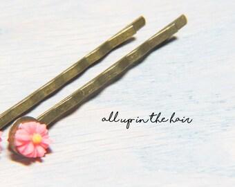 Daisy Bobby Pins - Pink Bobby Pins - Flower Bobby Pins - Tiny Bobby Pins - Daisy Hair Pins - Pink Hair Pins - Tiny Hair Pins
