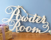 Powder Room Wall Sign. Powder Room Laser Cut Sign. Home Decor. Farm House Decor