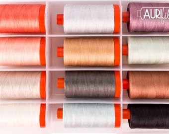 Aurifil GOING HOME to ROOST Collection by Bonnie Christine - 12 lg spools 50 wt 100% Mako Cotton Thread