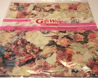 Ships Free NOS Cleo Gift Wraps / Victorian Valentine / Roses / Cherubs / Romantic