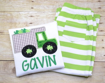 St. Patrick's Day Outfit, St. Patrick's Day Clothing Set, Boy's St. Patick's clothing, truck applique, truck embroidery
